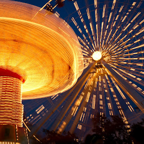 Rides at Navy Pier by Mike Trahan - City,  Street & Park  Amusement Parks ( lights, navy pier, night, chicago, ferris wheel )