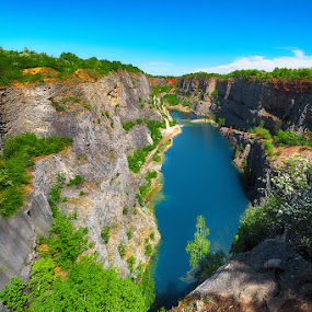 Velka Amerika quarry by Michal Fokt - Landscapes Waterscapes ( rock, lake, quarry )