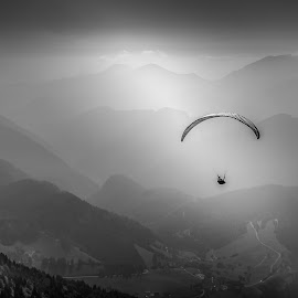 Para-glider above Soriška  by Bor Rojnik - Sports & Fitness Other Sports ( hills, sky, para glider, above, tranquility, transportation, valley, sunlight, light, sun )