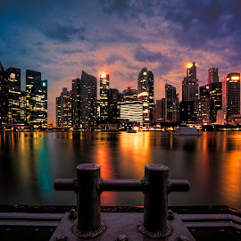 Twilight @ MBS Waterfront by Gordon Koh - City,  Street & Park  Skylines ( clouds, shenton way, skyline, reflection, blue hour, twilight, cityscape, singapore, city, skyscraper, sunset, vista, asia, long exposure, waterfront, light,  )