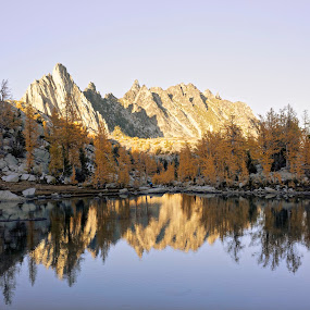 Sprite Lake by Rakesh Malik - Landscapes Waterscapes ( enchantments, reflection, mountain, trekking, waterscpe, landscape, hiking, fall color, larches, backpacking, wilderness, alpine lakes, prusik peak )