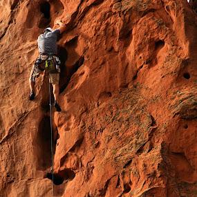 Up, Up, Up. by Jen Millard - Sports & Fitness Climbing ( climb, climbing, nature, fitness, rock, climber, man )