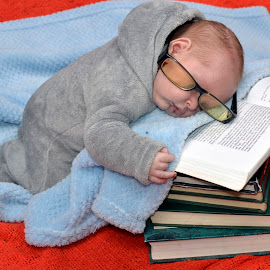 Tired Much!! by Amanda Beukes Erasmus - Babies & Children Babies ( sleep, baby, reading, peaceful )