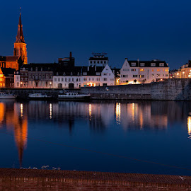 Maastricht by Night. by Leen Bilt Van Der - City,  Street & Park  Historic Districts ( history, river the maas, maastricht, night, cityscape )