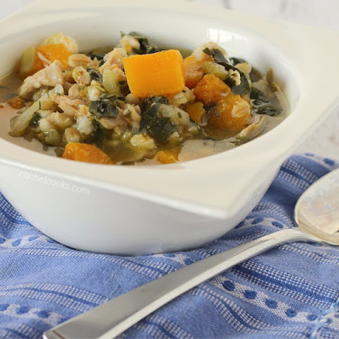 Chicken Barley Soup with Kale and Butternut Squash
