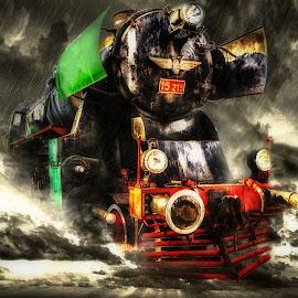 The Stormbringer by Plamen Mirchev - Digital Art Things ( storm, color, dark, dramatic, train, transportation )