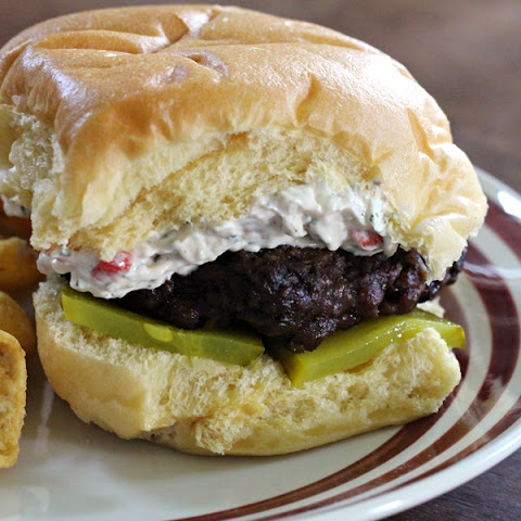 Burgers with Zesty Cream Cheese Pimento Spread