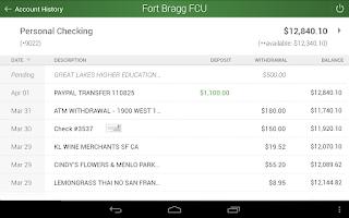 Screenshot of FBFCU Mobile Banking