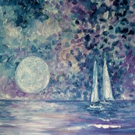 Blue Moon by Rhonda Lee - Painting All Painting