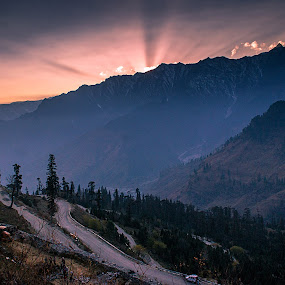 lost in the sun! by Rajarshi Mitra - Landscapes Sunsets & Sunrises ( hills, mountains, streets, sunrise, roads )