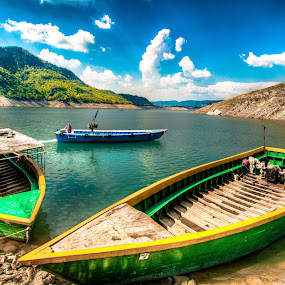 Nangal, Punjab by Shikhar Sharma - Transportation Boats ( water, clouds, punjab, lake, boat )