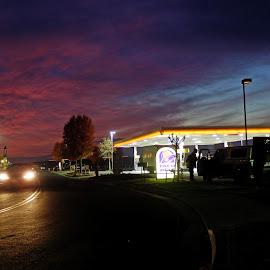 Fremont Sunrise by Don Bates - City,  Street & Park  Street Scenes ( dawn, red, colors, night, street scene )