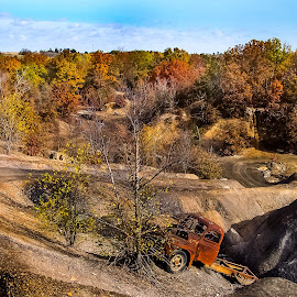 OHV Park Fall Colors by Gary Wahle - Transportation Automobiles ( iowa, fall colors, atv, abandon trauck, , relax, tranquil, relaxing, tranquility )
