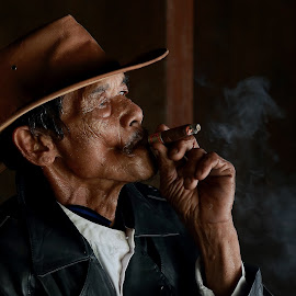 retired cowboy by Suryadi Sulthan - People Portraits of Men ( wrinkle, cowboy, engkong, old man, orang tua,  )