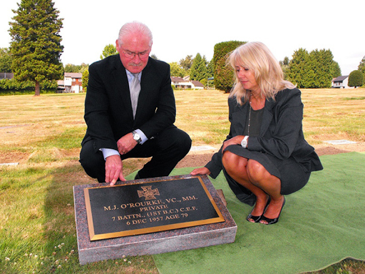 Mickey O'Rourke, war hero and Victoria Cross winner in World War One is buried at Forest Lawn Memorial Park in Burnaby. O'Rourke led union longshoremen on their march to Ballantyne Pier in 1938.(full ...