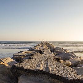by Ken Mickel - Landscapes Waterscapes ( water, oceanside, break water, california, harbor village, ocean, jetty )