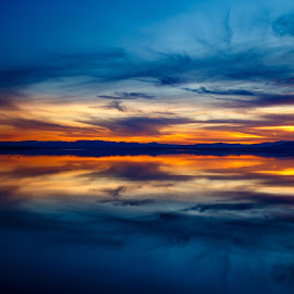 Reflected Dreams by Vinod Kalathil - Digital Art Places ( clouds, reflection, bombay beach, sunset, salton sea, california, lake )