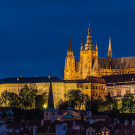 by Mario Horvat - Buildings & Architecture Places of Worship ( outdoor, church, night, praha, chatedral, prague, popular, lights, hradčany, tower )