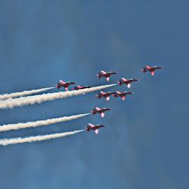 R edit 2 by Kelly Murdoch - Transportation Airplanes ( flight, red arrows, england, uk, sky, display, jet, hawk, ztam )