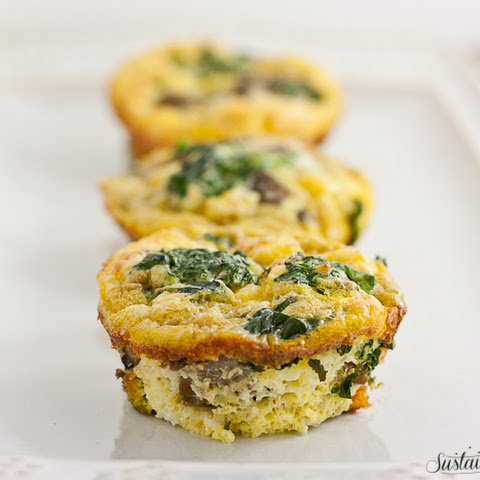Mini Mushroom, Feta and Spinach Frittatas