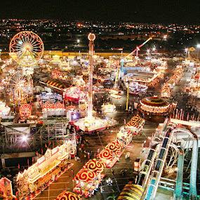 State Fair At Night by Yamin Tedja - City,  Street & Park  Amusement Parks ( lights, ferris, amusement, wheels, parks, state, carousel, night, fair,  )