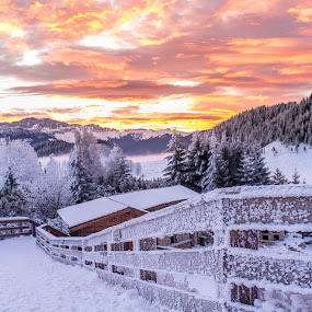 December sunrise by Catalin Caciuc - Landscapes Mountains & Hills ( sky, snow, frost, fuji, fundata, sunrise, x100, flare, morning )