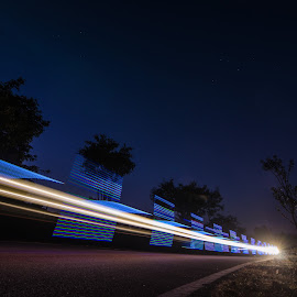 Zoom by Adit Lal - Abstract Light Painting ( exposure, blue, sunset, street, night, trails, long, light )