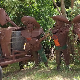 Tractor & Musicians by Denise DuBos - Artistic Objects Other Objects ( nursery, tractor, kemah, rusted, mariachi band )