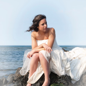 Bride Mermaid by Julie Wetherell - Wedding Bride ( female, dress, wedding, lady, sea, rock, wet, mermaid )