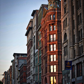 Bleecker Street at Dusk by Kate Purdy - City,  Street & Park  Street Scenes ( urban, bleecker street, buildings, new york city, dusk, city, mood factory, color, lighting, moods, colorful, light, bulbs, mood-lites )