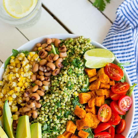 Green Sorghum Burrito Bowls with Roasted Sweet Potato