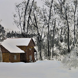 Fowler Park Cabin by Robin Smith - Painting All Painting ( nature, snow, landscape, architecture )