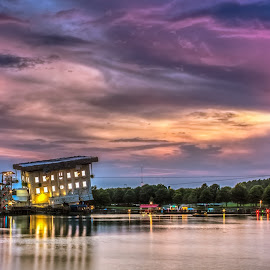 Broadway At The Beach by Robert Sellers - Landscapes Travel ( clouds, water, myrtle, wonderworks, art, lake, beach, landscape, south carolina, myrtle beach, sunset, caolina, night, evening, broadway )