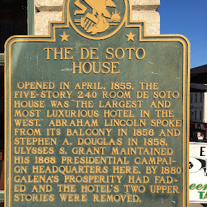 "The De Soto House OPENED IN APRIL, 1855, THE FIVE-STORY 240 ROOM DE SOTO HOUSE WAS ""THE LARGEST AND MOST LUXURIOUS HOTEL IN THE WEST.""  ABRAHAM LINCOLN SPOKE FROM ITS BALCONY IN 1856 AND STEPHEN A. ..."