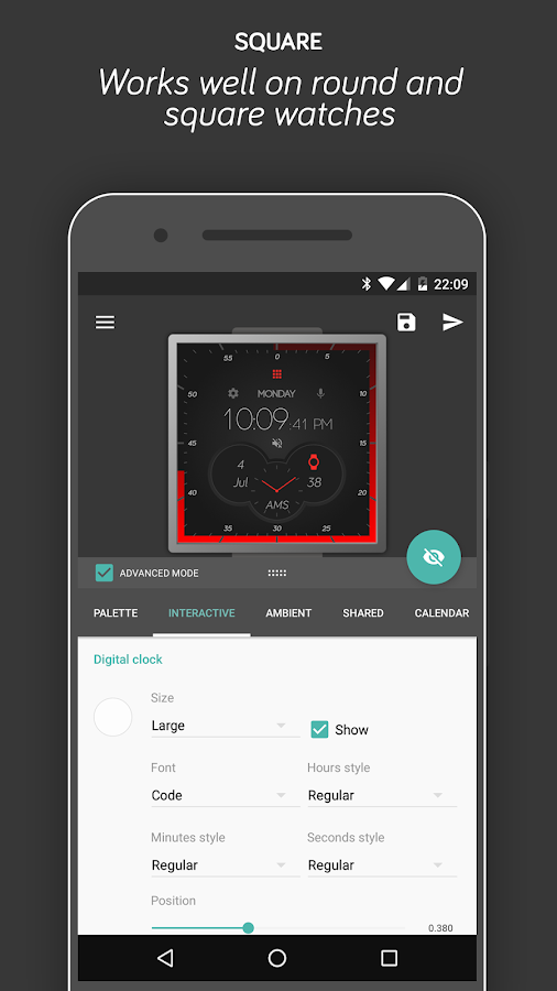 Pujie Black Android Wear Watch Face Designer Screenshot 18