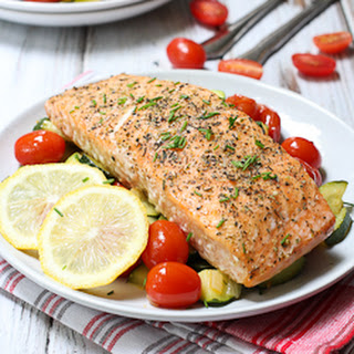 Roasted Salmon with Veggies