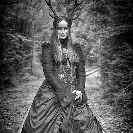 by Marco Bertamé - Black & White Portraits & People ( horns, dress, woman, lady, blur, xteampunk, sdof, robe, portrait,  )