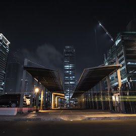 Pathway by Cynthia Pedrosa - Buildings & Architecture Other Exteriors ( lights, street, buildings, light trails, long exposure, night, bgc, nightscape, bonifacio global city )