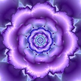 Flower 34 by Cassy 67 - Illustration Abstract & Patterns ( purple, wallpaper, digital art, harmony, bloom, fractal, digital, fractals, flower )