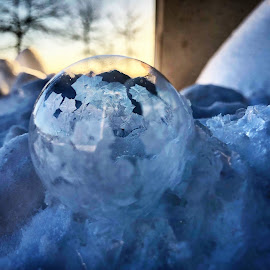 Ice bubble by Melissa Poling - Abstract Macro ( ice frost crystal cold winter urban art,  )