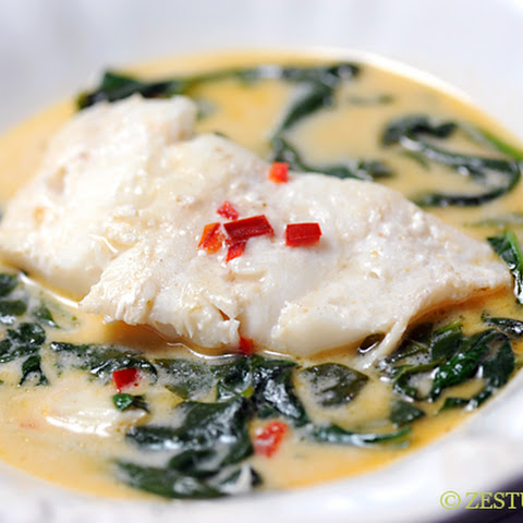 Coconut Milk Poached Cod with Spinach and Fresno Peppers