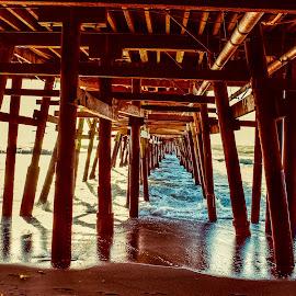 Under the pier  by Nelida Dot - Buildings & Architecture Bridges & Suspended Structures ( structure, wood, pier, ocean, architecture, underneath )