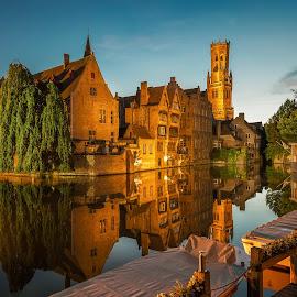 Bruges, Belgium by Nick Moulds - City,  Street & Park  Historic Districts ( reflection, bruges, belgium, brugge, dusk,  )