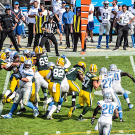 Clinching first down by Jason Lockhart - Sports & Fitness American and Canadian football ( football, first down marker, lambeau field, detroit lions, green bay packers, eddy lacy )