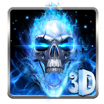 3D Blue Fire Skull Theme Launcher Icon