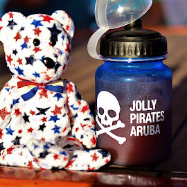 Tripp on vacation by Moe Cusick - Food & Drink Alcohol & Drinks ( patriotic, beanie baby, red white and blue, bear, alcoholic drink, drink,  )