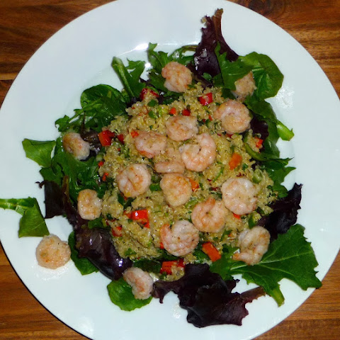 Layered Quinoa-Veggie-Shrimp Salad with fresh Ginger and Lime Dressing