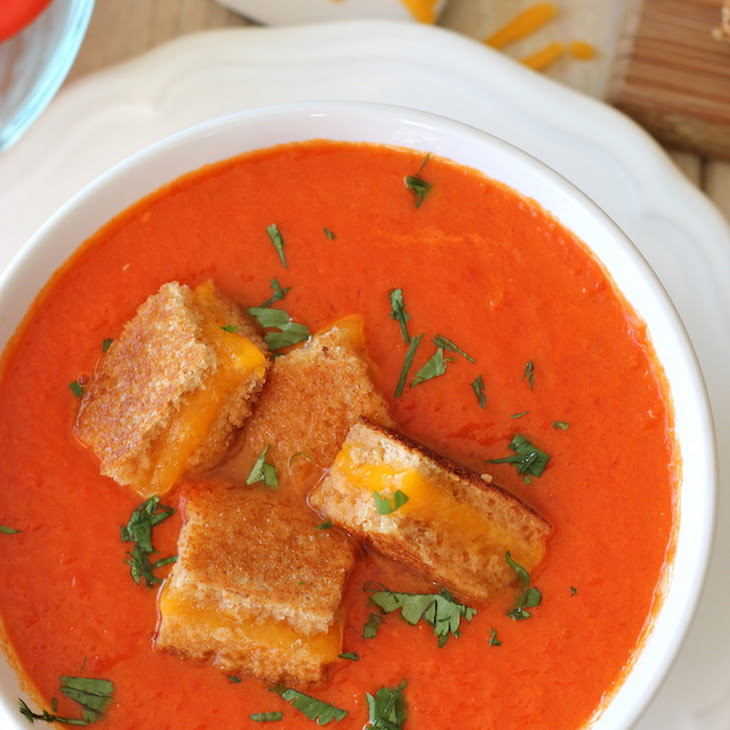 "Creamy Tomato Soup with Grilled Cheese ""Croutons"" Recipe 