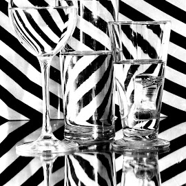 Headache anyone? by Stevie Toye - Abstract Patterns ( black and white, variation, glass, reflections, stripes )