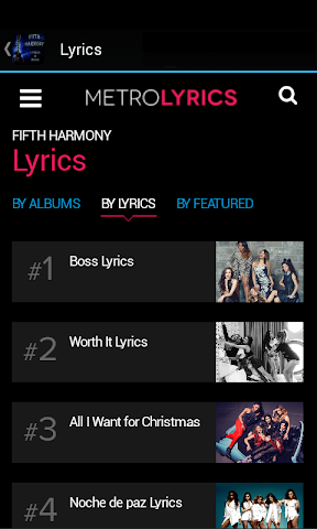 android Fifth Harmony Lyrics & Music Screenshot 2